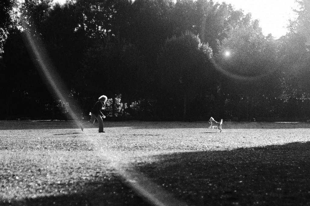 Una ragazza ed un cane in Villa Borghese - Michele Settembre