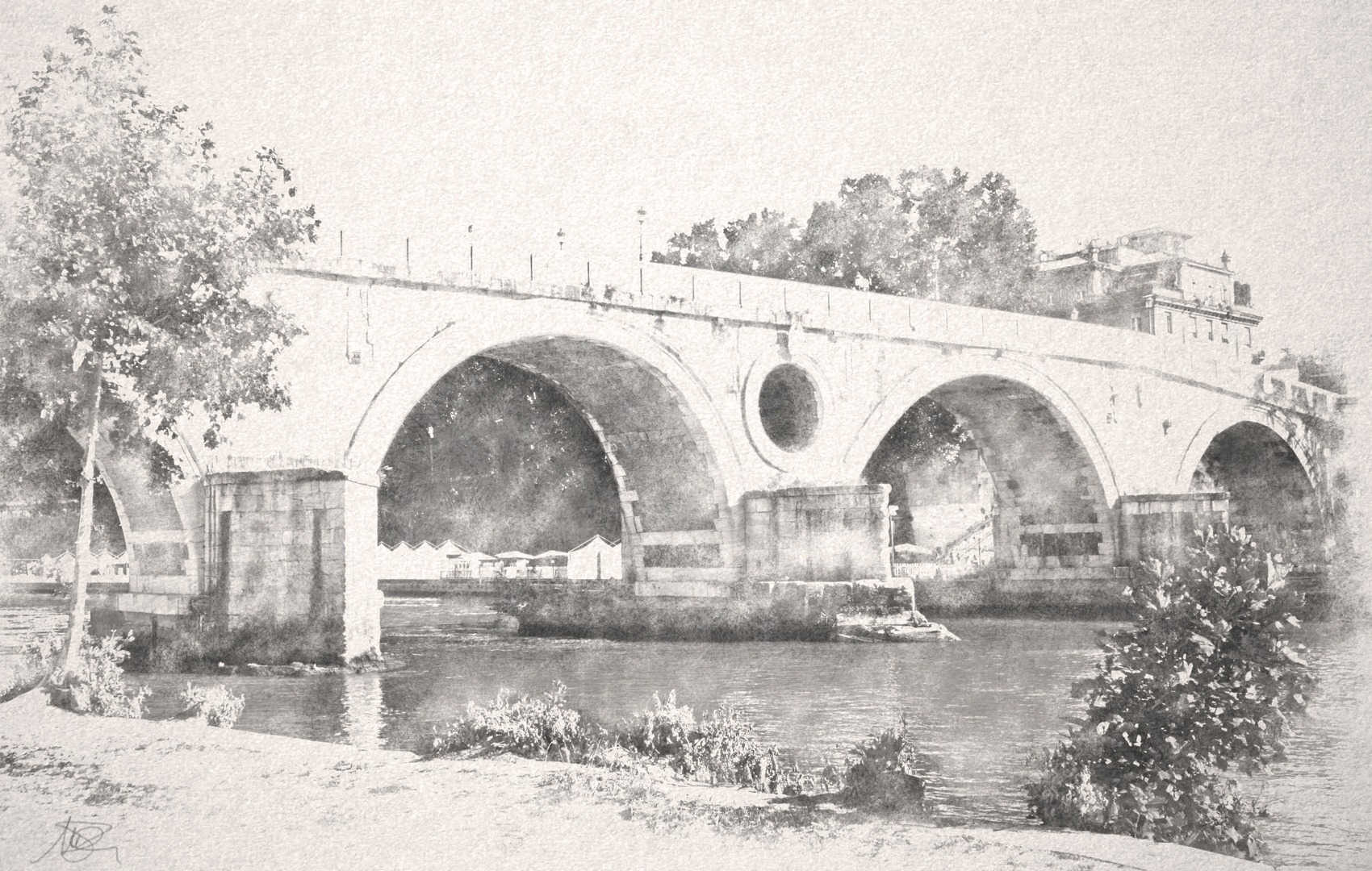 Disegno digitale matita su carta ruvida il ponte sisto for Disegni di ponte anteriore